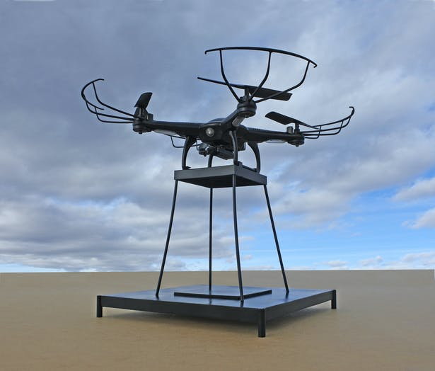 The drone and support structure.