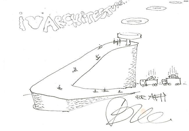 Bjarke Ingels | BIG, Waste to Energy Plant. 4/24/12, pen on envelope, 5.75 x 7.75