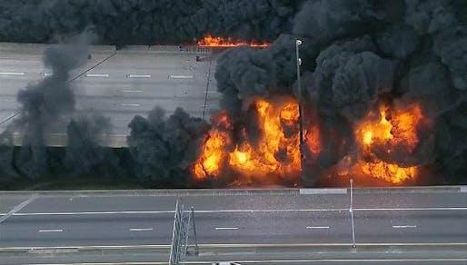 A fire caused a bridge on Atlanta's I-85 to collapse Thursday night. Photo via Newnan-Times Herald/Twitter.