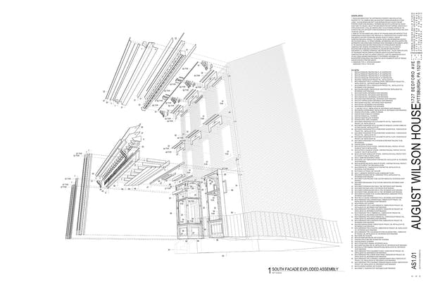 Assembly diagram of the entire house facade and the pieces that need to be fabricated.