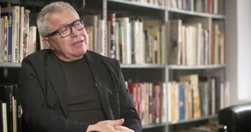 "A screenshot of Daniel Libeskind from his ""Tribute to New York."""