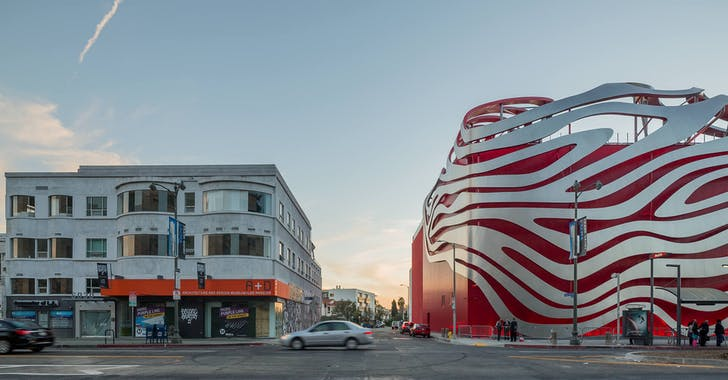 The Petersen Automotive Museum in Los Angeles, California. Image courtesy of Bill Zahner.