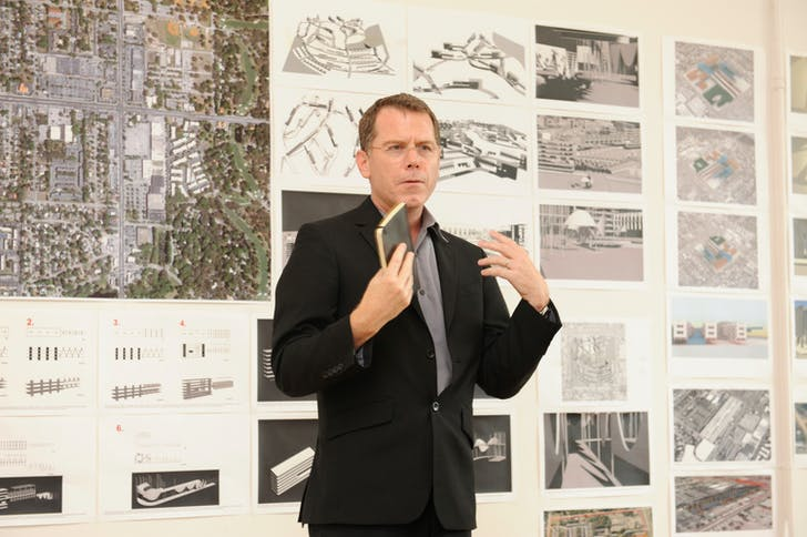 Michael Bell of Michael Bell: Visible Weather presents at the Foreclosed:Rehousing the American Dream Open Studios at MoMA PS1 on June 18, 2011. Photographs by Don Pollard. © 2011 The Museum of Modern Art.