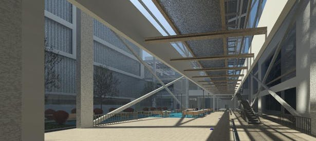 this is an interior shot of the courtyard in the middle of the site which is outdoors
