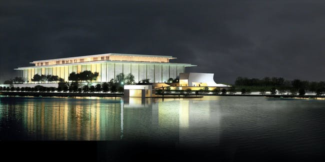 John F. Kennedy Center for the Performing Arts Expa nsion , Washington, DC. Rendering by Steven Holl Architects