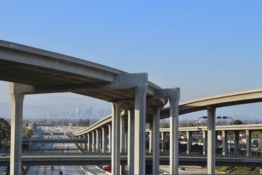 "A five-level freeway interchange in Los Angeles. Photo: Andrew Allio/<a href=""https://www.flickr.com/photos/allio/35034396736/"">Flickr</a>."