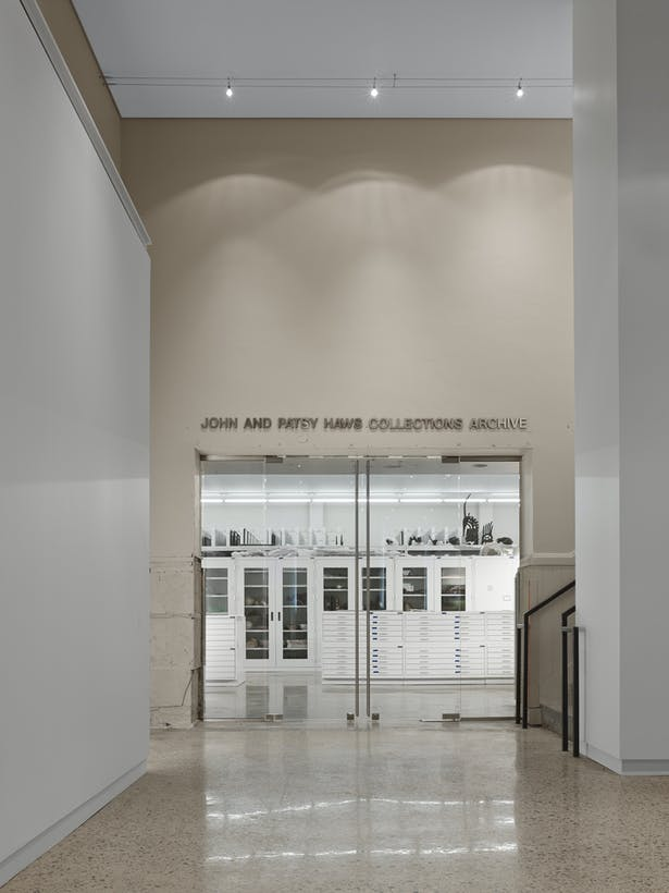 The main entrance into the art collection archive. Most institutions would not allow this visual connection. Because this is a teaching institution, seeing behind the scenes is part of the education.