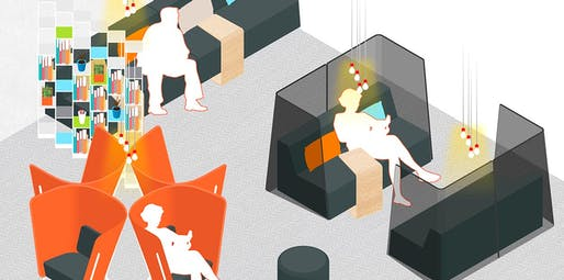 "A design sketch by Ideo for ""the Hub,"" a waiting room with maximized privacy via ""nesting spaces."" Credit: Ideo / Planned Parenthood"
