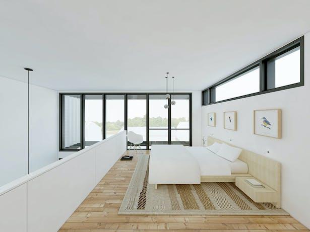 master bedroom loft -view to rear garden