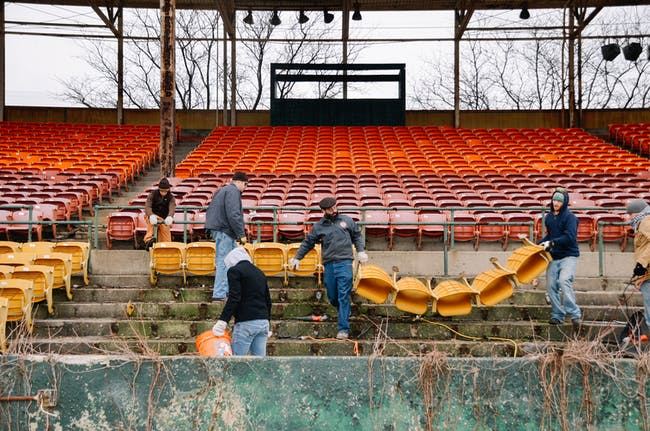 Removal of yellow chairs at Bush Stadium. Image courtesy of PUP.