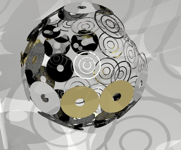Pieterson & Sgambati_e-waste installation_disco ball_rendering