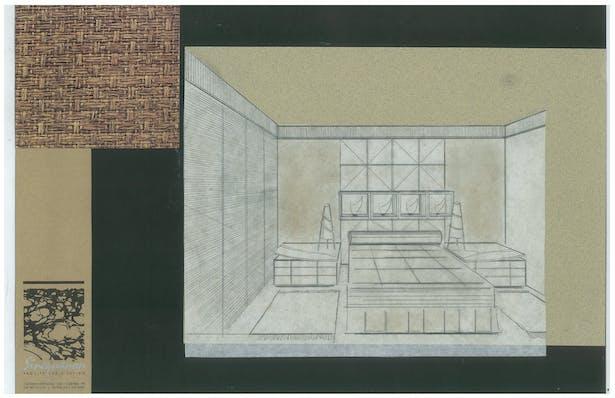 Bachelor's Condo   Bedroom   Interior Hand-Sketch