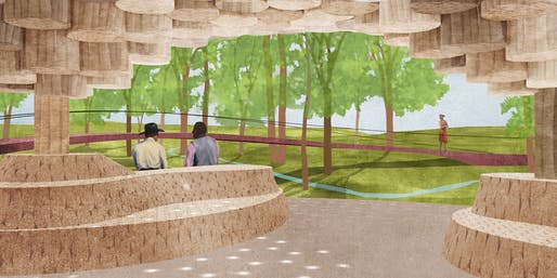 Interior view of Francis Kéré's new pavilion at the Tippet Rise Art Center in Montana. Image credit: Francis Kéré.