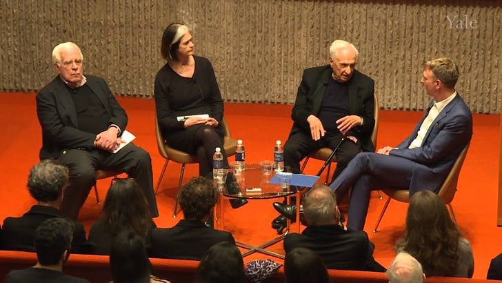 Peter Eisenman, Deborah Berke, Frank Gehry and Mark Foster Gage at Yale School of Architecture. Photo credit: Yale University