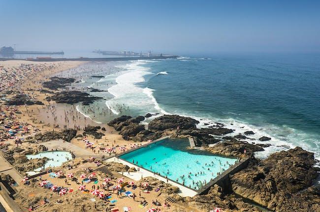 Joao Morgado for Outdoor Swimming Pool, in Leca de Palmeira, Portugal, by Alvaro Siza Vieira. Photo courtesy of Arcaid Images Architectural Photographer of Year 2014 award.