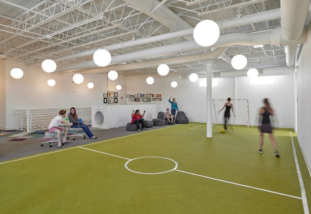 Indoor soccer field on the second floor mezzanine.