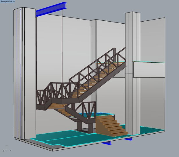 3D model of the steel staircase structure