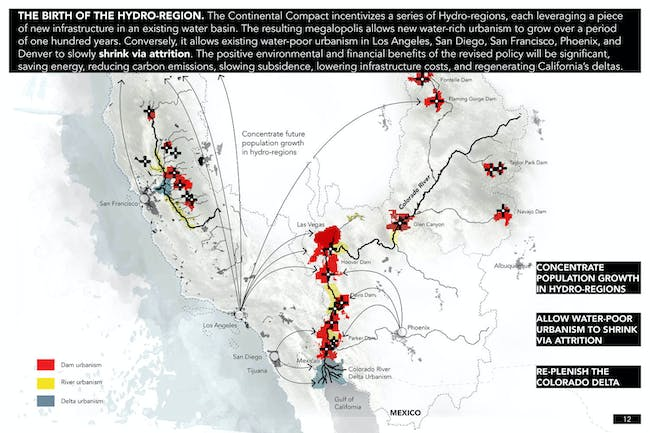 THE BIRTH OF THE HYDRO-REGION. The Continental Compact incentivizes a series of Hydro-regions, each leveraging a piece of new infrastructure in an existing water basin. The resulting megalopolis allows new water-rich urbanism to grow over a period of one hundred years. Conversely, it allows existing water-poor urbanism in Los Angeles, San Diego, San Francisco, Phoenix, and Denver to slowly shrink via attrition. The positive environmental and financial benefits of the revised policy will be...