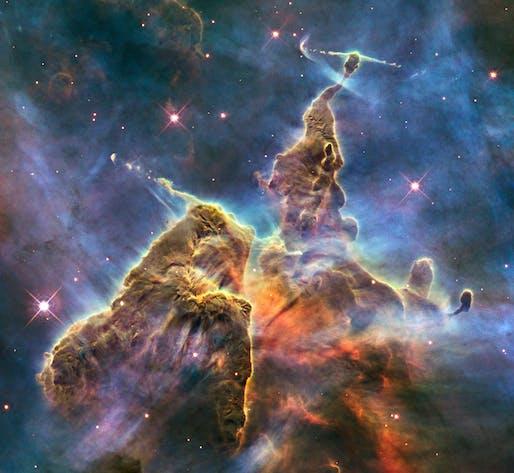 Mystic Mountain, a region in the Carina Nebula. Image by the Hubble Space Telescope, via Wikipedia.