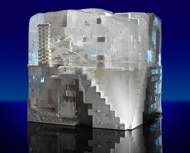 SOM froze its unique LEGO infrastructure in a solid block of ice. Photo: Zack Burris