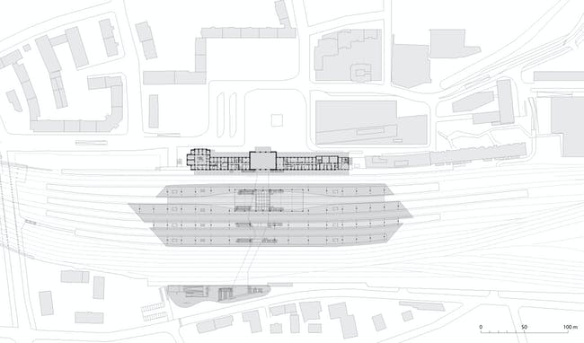 Salzburg Central Station, platform level diagram. Image: kadawittfeldarchitektur