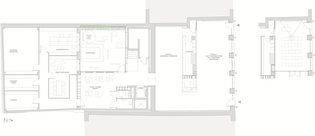 ground floor: temporary exhibitions, multifunctional area and library-lounge
