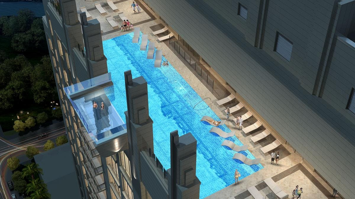 Swimming with Skyscrapers: Watch video from a glass-bottomed sky ...
