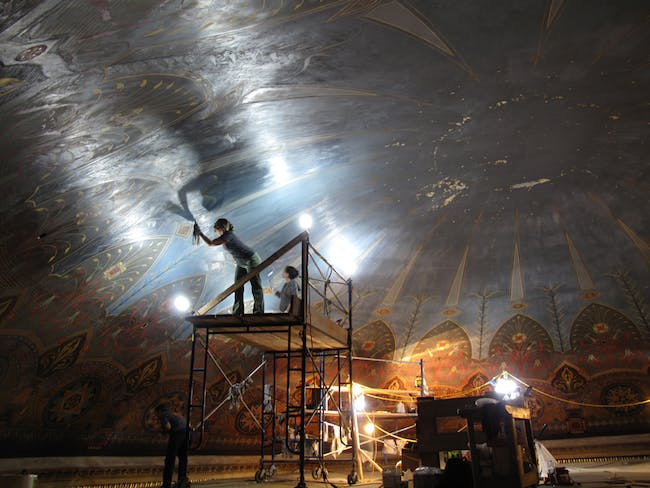 The dome under restoration | Photo courtesy of see. Painting, via The Architectural League of New York.