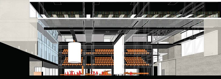 interior view of public room: with library above, and movable seating, cafe beyond