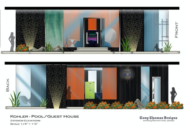 KOHLER GUEST/POOL HOUSE - EXTERIOR ELEVATIONS