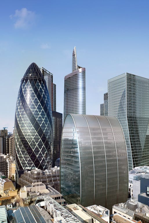 Rendering of the proposed 'Can of Ham' tower at 60-70 St Mary Axe in the City of London. Image via foggo.com