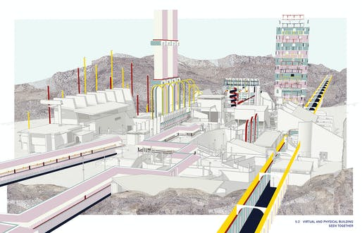 ​Serjeant Awards for Excellence in Drawing RIBA Part 1 winner: Gabriel Beard (Bartlett School of Architecture, UCL) for 'Ascaya City Hall: Constructing a Virtual Civic Image'