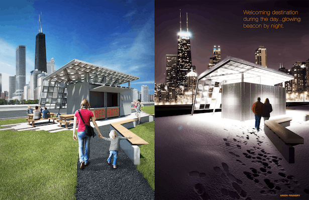 Lakefront Installation by Day and Night