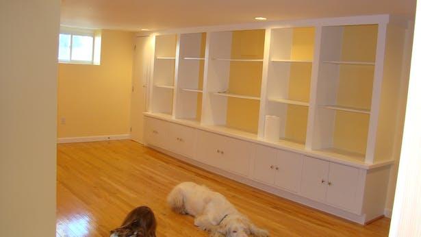 basement - under construction (built-in bookcase)