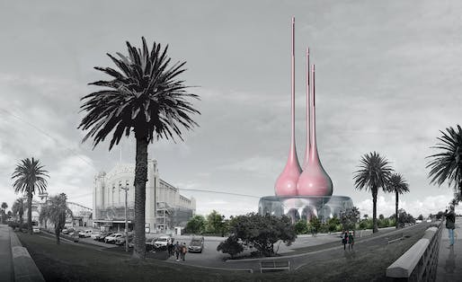 """Breathing Totems"", A submission to the Land Art Generator Initiative (LAGI) 2018 Competition for Melbourne. TEAM: Rafael Sánchez Herrera, Laura Camilla Mesa Arango. TEAM LOCATION: Bogota, Colombia. ENERGY TECHNOLOGIES: thermal chimney with vertical axis wind turbines. ANNUAL CAPACITY: 800 MWh"