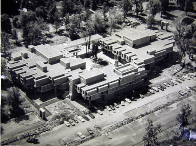 Construction photo of the Orange County Government Center from the Archives of the Paul Rudolph Foundation
