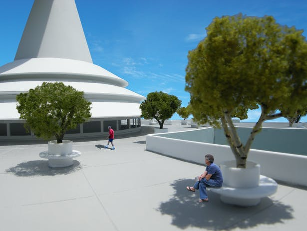 Detail of the rooftop plaza and trees