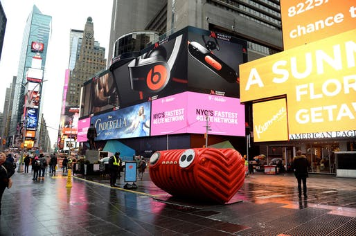 2015 Times Square Valentine Design winner, 'HeartBeat' by Stereotank. Photo Credit: Clint Spaulding for @TSqArts