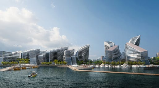 The winning Admiral Serebryakov Embankment masterplan proposal by Zaha Hadid Architects + Pride TPO. Rendering: VA.