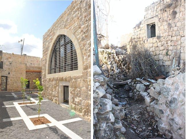 Revitalization of Birzeit Historic Center: Birzeit University guest house (before and after restoration). Photo: AKAA / RIWAQ