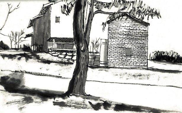 Sketch 4 - west elevation