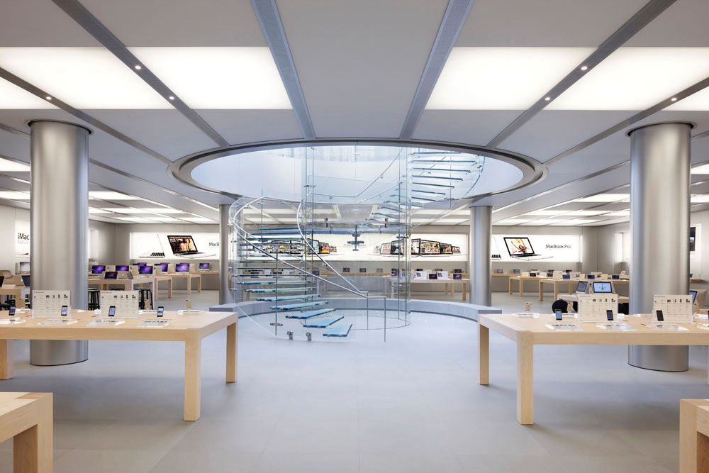 Apple new office design Underground The Us Patent And Trademark Office Granted Apples Request Last Week For Trademarks On The Minimalist Design And Layout Of Its Retail Outlets Archinect Apple Trademarks Design Of Its Retail Stores News Archinect