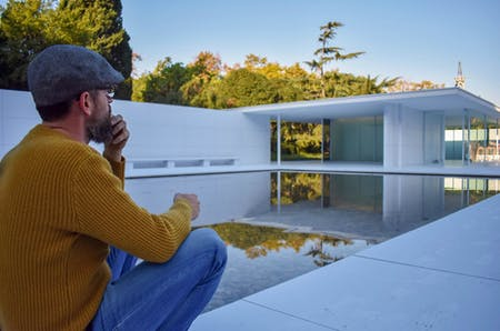 Marc Quintana Carreras Head of Maintenance at the Barcelona Pavilion during the artistic intervention 'mies missing materiality' by architects Anna & Eugeni Bach. Photo by author.