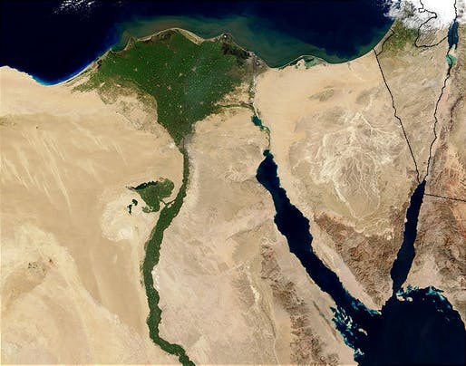 Fertile farmland since pharaohs ruled Egypt, the agricultural areas all around the Nile River are under thread from accelerated — and often illegal — urban growth. (Photo: Jacques Descloitres, MODIS Rapid Response Team, NASA/GSFC)