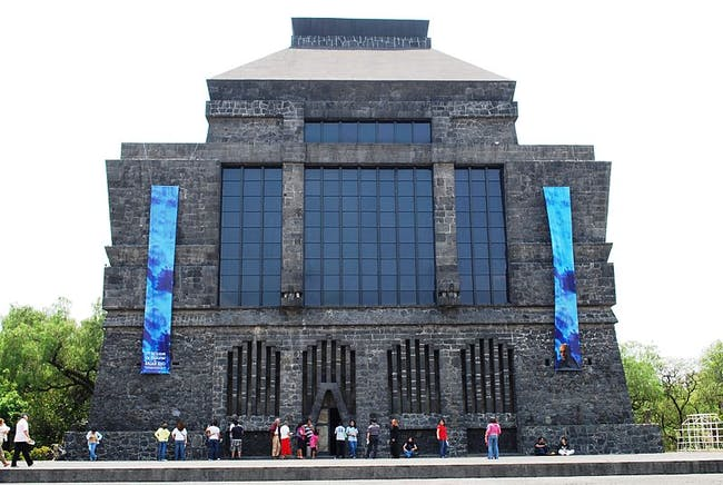 Front view of the Anahuacalli Museum in Mexico City via Wikimedia Commons