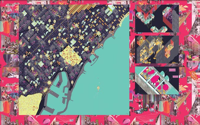 Fake Industries Architectural Agonism (Cristina Goberna & Urtzi Grau), 'The Urban Imaginary Project. Barcelona's Moveable Feast. A Post-Crash Urban Imaginary,' 2014. Archival inkjet print. 40 x 122 inches. Courtesy of the artists.