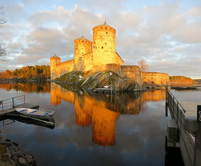 Olavinlinna Castle, a 15th-Century Swedish defense fortress.