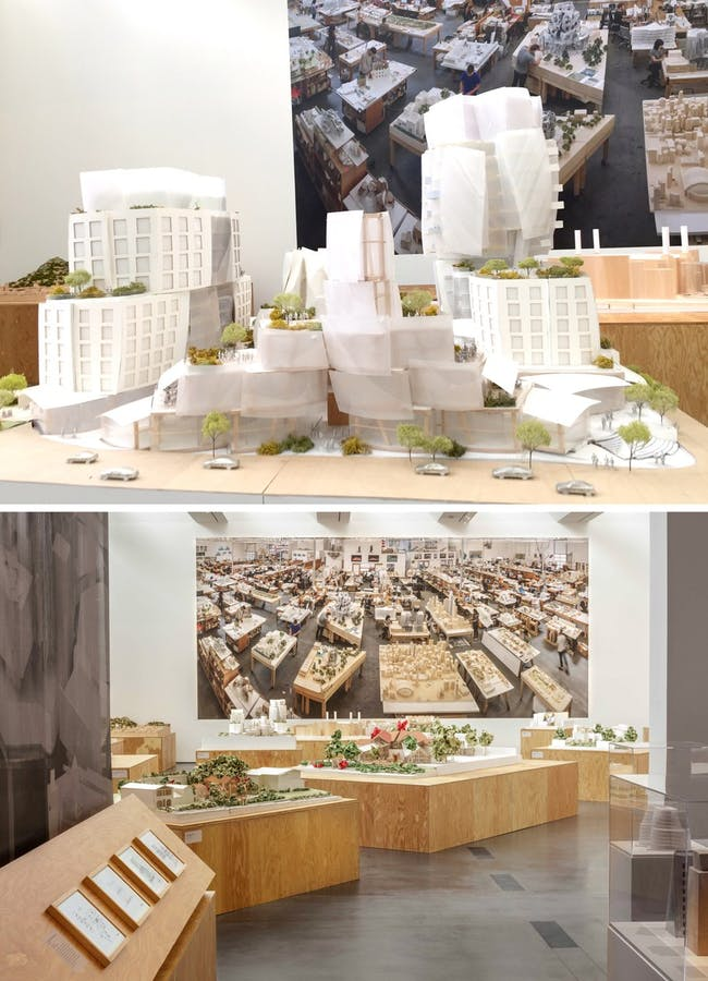 Frank Gehry, 8150 Sunset, model, 2015-present, West Hollywood, California (Bottom) Frank Gehry exhibition at LACMA Photograph by Fredrik Nilsen, courtesy of the museum and Gehry Partners, LLP (via KCRW)