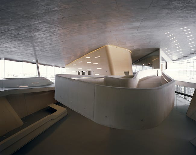 An interior view of the terminal. Image credit: Helene Binet / courtesy of Zaha Hadid Architects