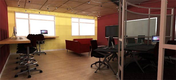 View from entry door towards open lab and collaboration space